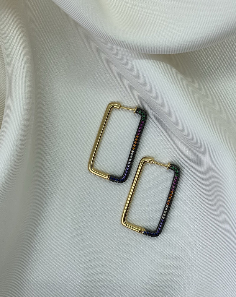 Boucles d'oreilles Rectangle Multicouleurs