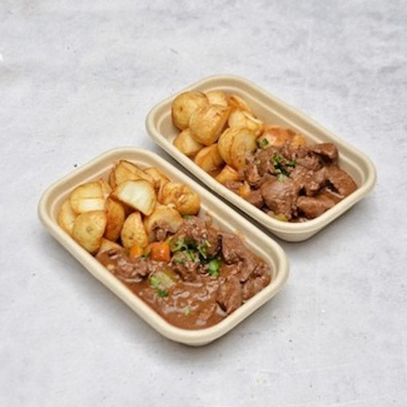 Pepper Beef Stew with Roast Chat Potatoes