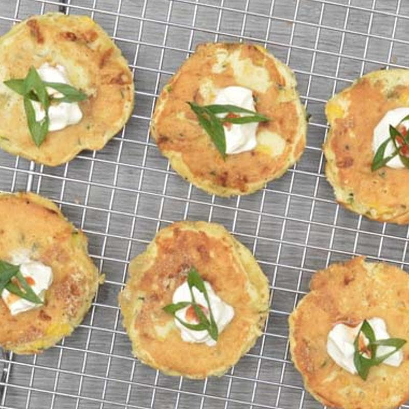 Zucchini & Corn Fritter Cakes Pen Catering