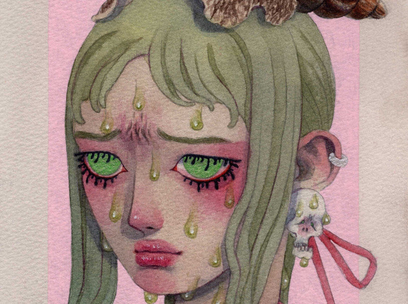 Combining Cute and Creepy in Watercolor Portraiture Illustration Likrot