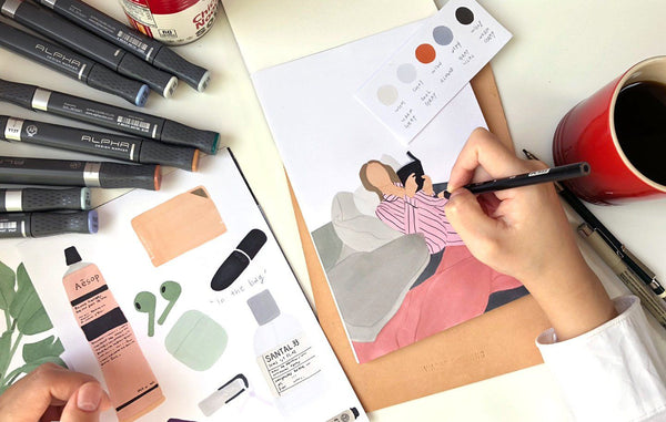 Create Elegant Minimalist Marker Drawings: An Online Class Illustration ourWASAB