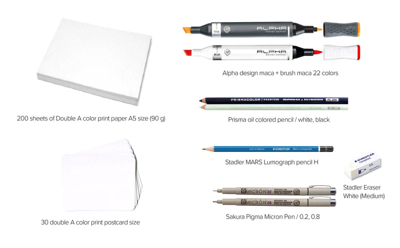 Create Elegant Minimalist Marker Drawings: An Online Class Illustration ourWASAB Class Access + All-in-one Package