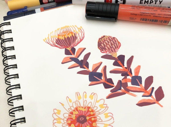 Creating Beautiful Flowers with Paints and Markers Illustration Kevin Jay Stanton