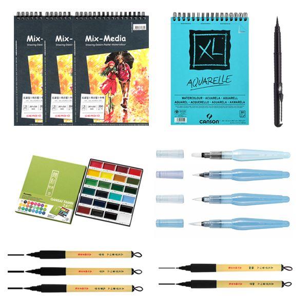 Creating Ink and Watercolor Illustrations with Bryce Kho Illustration Bryce Kho Materials Package + Class Access