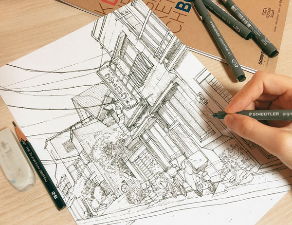 Detailed Urban Sketches With Only a Pen Illustration 리니 1차