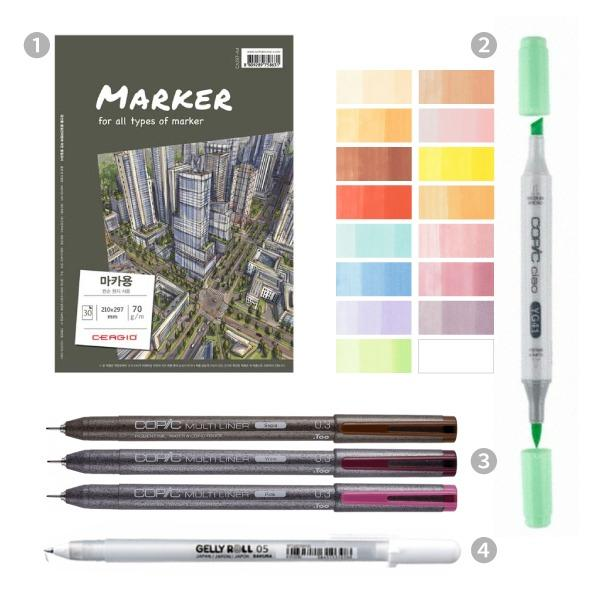 Draw Cute and Dreamy Anime Characters with Markers Illustration Anzy All-in-One Package (Class Kit + Acces)