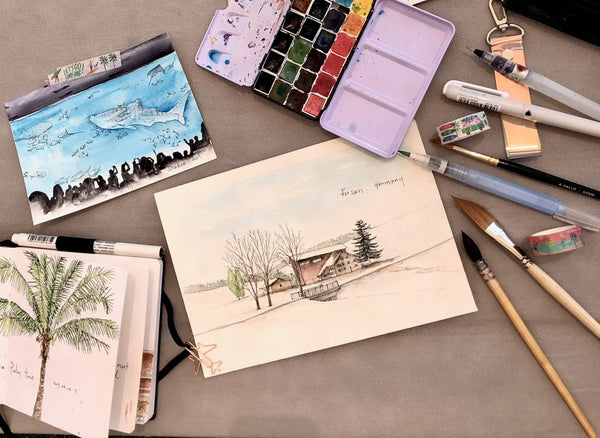 Draw While You Travel - Pen and Watercolor Travel Drawing 핀든아트