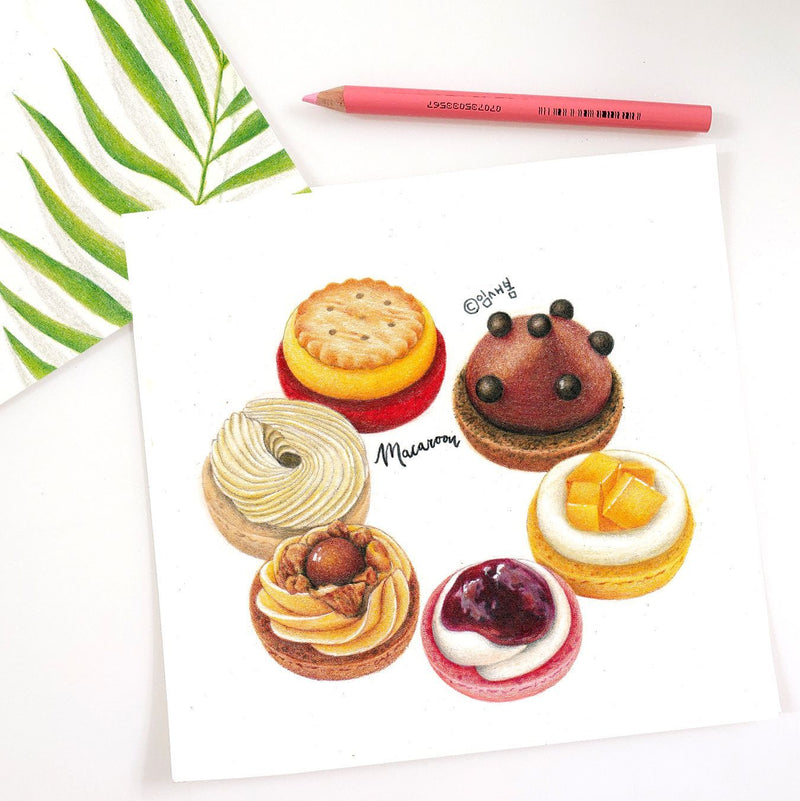 Expressing the Textures and Colors of Desserts and Drinks: An Online Colored Pencil Class Illustration 임새봄