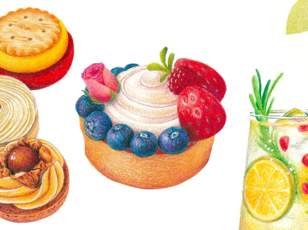 Expressing the Textures and Colors of Desserts and Drinks: An Online Colored Pencil Class Illustration 임새봄 Class Access Only