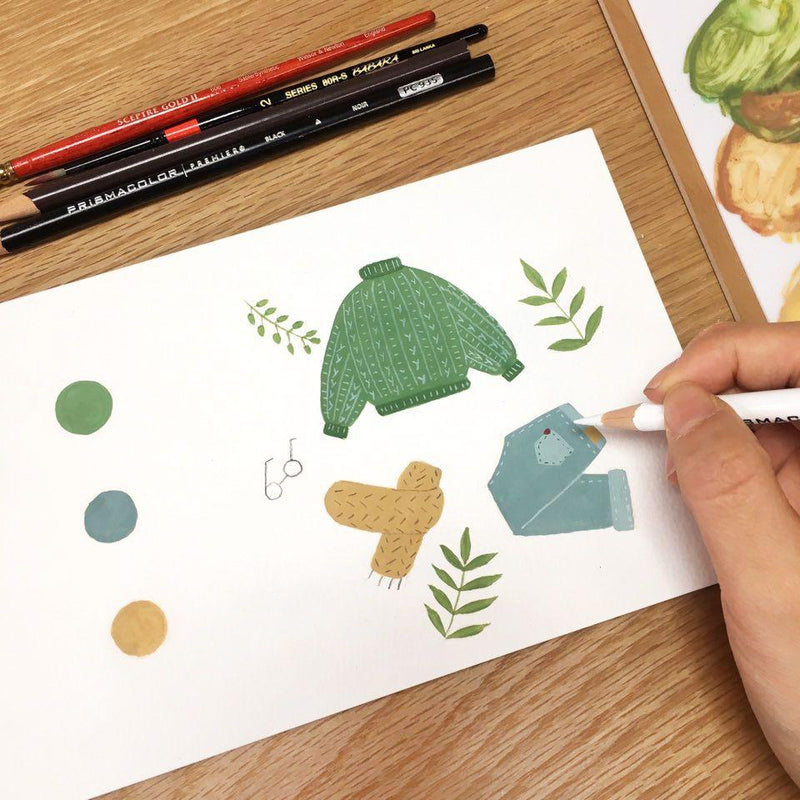 Simple and Cute Illustrations: Combining Gouache and Colored Pencils Illustration 아쌈