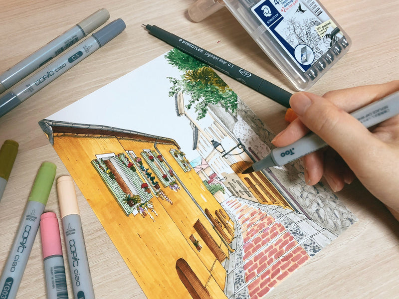 Travel & Lifestyle Illustrations - Learn Marker & Pen Drawing Illustration 리니 2차