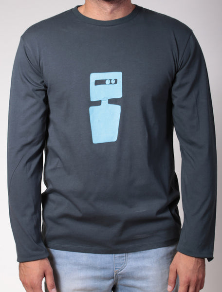 Ned Kelly | men's long sleeve, dusky blue on charcoal