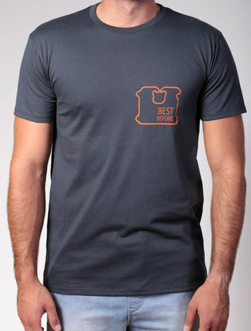 Best Before | Men's short sleeve, orange on charcoal t-shirt