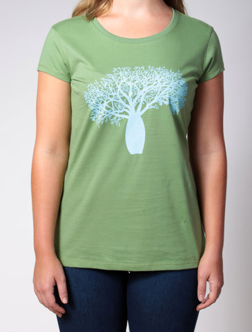 Boab Tree | women's short sleeve, turquoise print on green