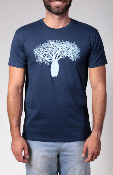 Boab Tree | men's short sleeve, bright blue on a navy t-shirt.