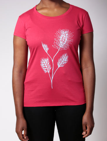 Grevillea | women's short sleeve, turquoise print on raspberry red