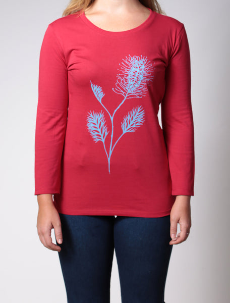 Grevillea | women's 3/4 sleeve, turquoise print on raspberry red