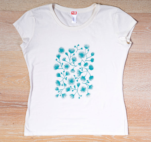 Gum Blossom | Women's short sleeve, soft gum blossom print on natural/creme