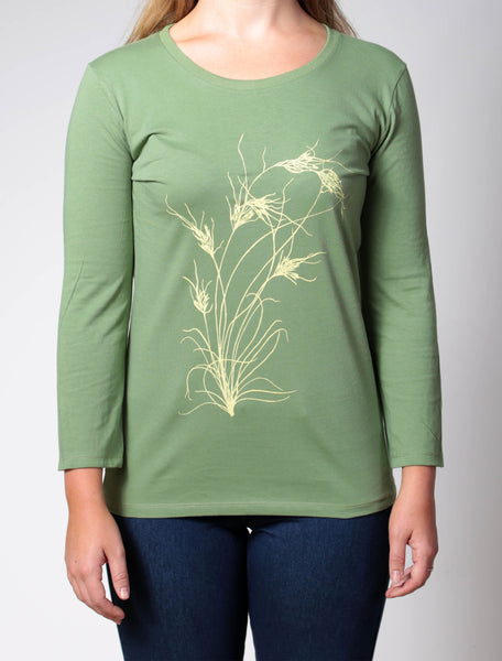 Kangaroo Grass | women's 3/4 sleeve, yellow print on green