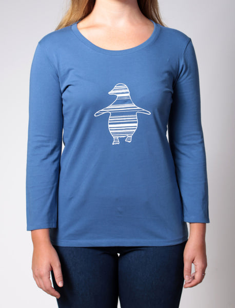 Penguin | Women's long sleeve, white print on blue