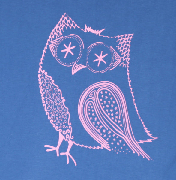 Pink Owl | Women's long sleeve, pink on blue