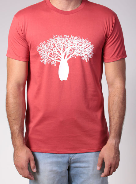 Boab Tree | men's short sleeve, white print on red