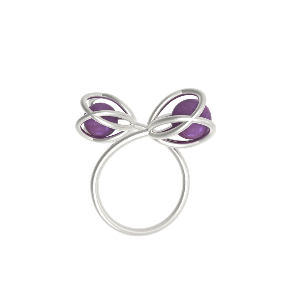 Flora Double Ring - Amethyst