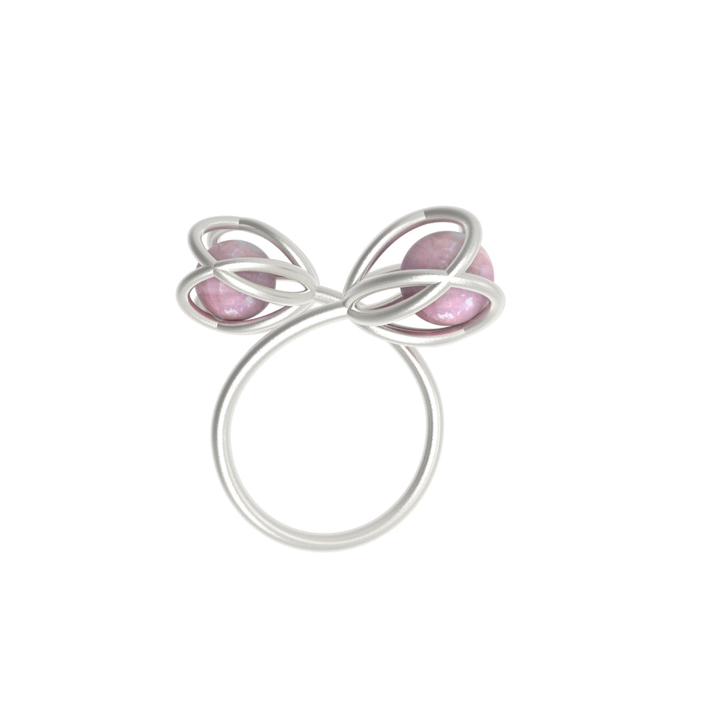 Flora Double Ring <br> Rose Quartz