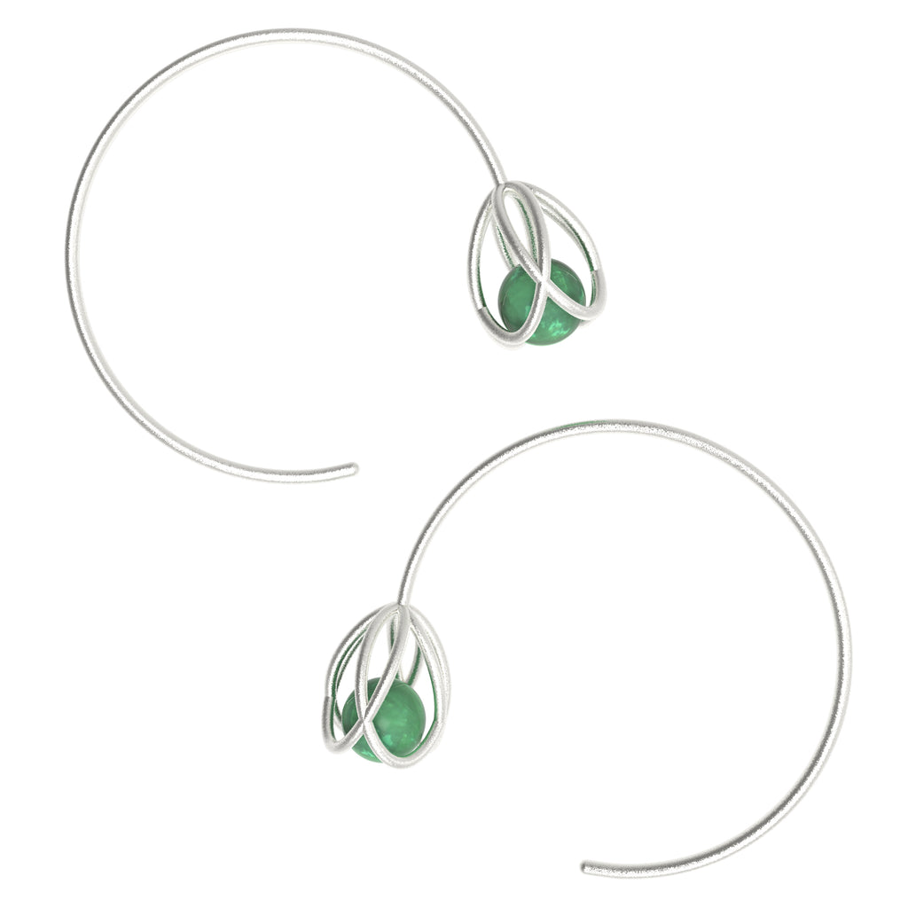 Flora Open Hoops - Green Aventurine
