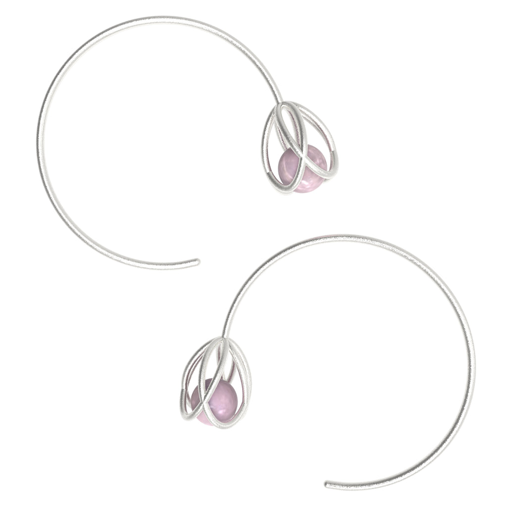 Flora Open Hoops - Rose Quartz