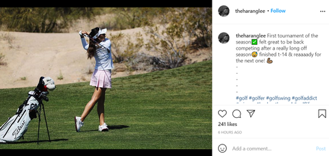 woman practicing a correct golf posture