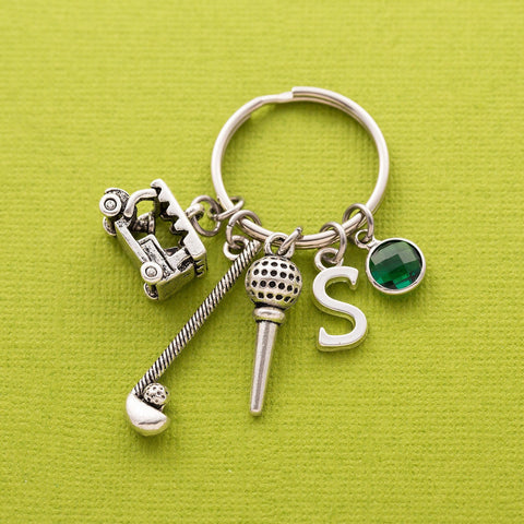 gift for golfer: personalized golf keyring