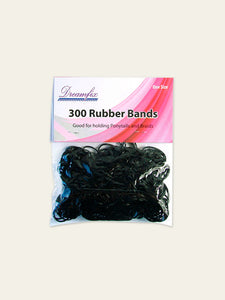 Elastic Hair Rubber Bands - Black (300pcs)