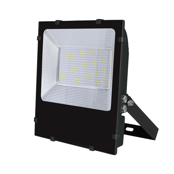 LED Dual Voltage Floodlight With Terminal Block Black Body  200W White light 6000K