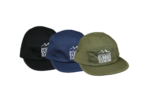 Summer Caps with Elbrus Elevation logo come in black, navy, and olive green.