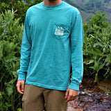 Medium, long-sleeved turquoise pictured on model (front)