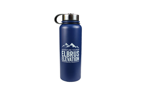 EE water bottle, navy, logo