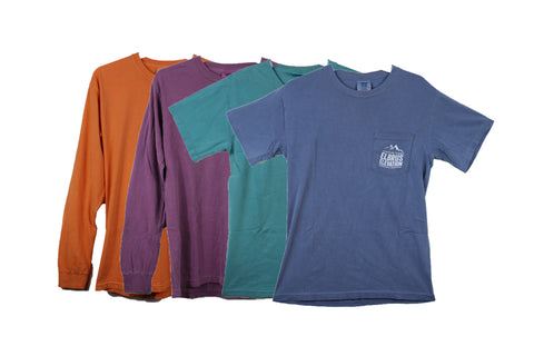 Shirts with the EE logo come in both short and long sleeves in a variety of colors.