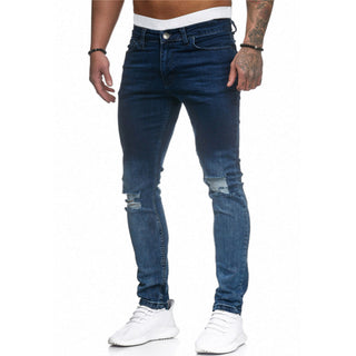 High Quality Jeans Men's Gradient Hole Denim Pencil Pants 2020 New Men Skinny Jeans Washed Ripped Black Stretch Trousers D25