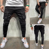 Jeans Men Cargo Pants Black Jeans Skinny Ripped Destroyed Stretch Jeans Hip Hop Slim Trousers Casual Pants Pocket Denim Pants