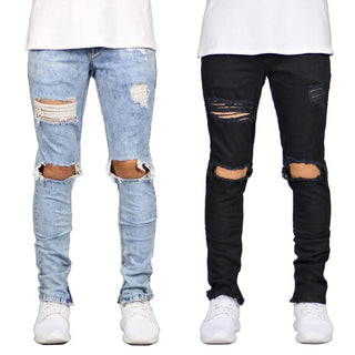 Men's Jeans Pencil Pants Casual Hole Skinny Jeans Men 2020 New Hip Hop Slim Ripped Denim Pant Black Trousers Male jean homme D25