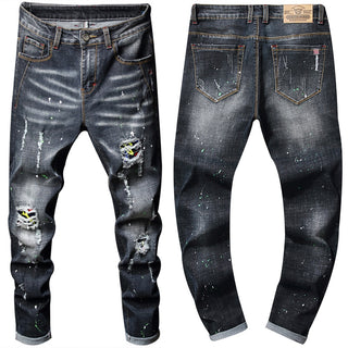 Men's Stretch Jeans Vintage Washed Splashing Ink Straight Jeans Men Hip Hop Male Hole Ripped Denim Trousers Pants Streetwear D25