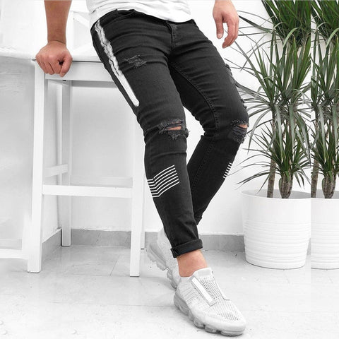 Ripped Jeans for Men Streetwear Pencil Pants Casual Hole Destroyed jeans homme Denim Jeans Fashion Trousers Stretch Skinny Jeans