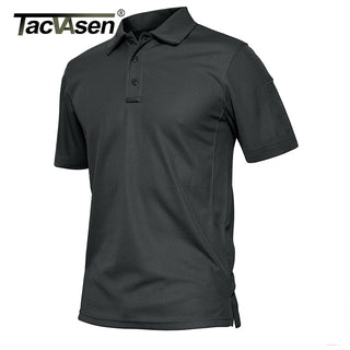 TACVASEN Summer Polo Shirts Men Short Sleeve Quick Dry Army Tactical Polos Lightweight Airsoft Military Work Hike Polos Clothing