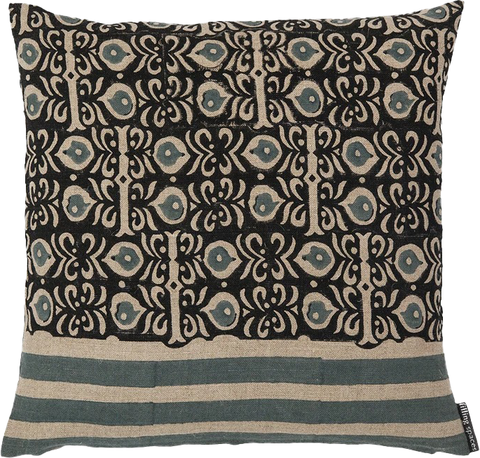 Zoe Black on Beige Pillow