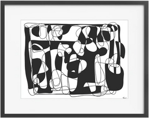 Untitled 021 Abstract Line Drawing' Framed Art