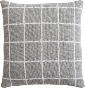 Grid Gray Knit Throw Pillow Cover with Insert