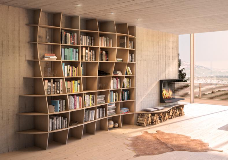 Charlotta-bookcases, bookshelves, dining room furniture, furniture, libraries, living room, shelves, wall shelves, wood-formbar.co.za