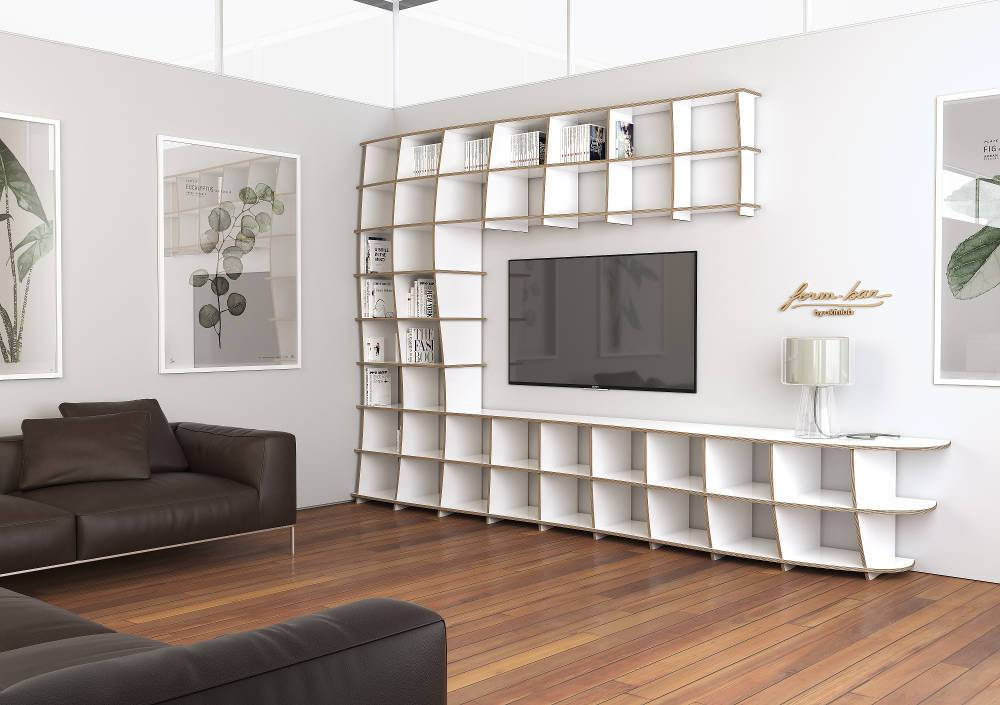 Cielo-bookshelves, living room, shelves, TV cabinet, TV stand, TV wall, wall shelves, wood-formbar.co.za