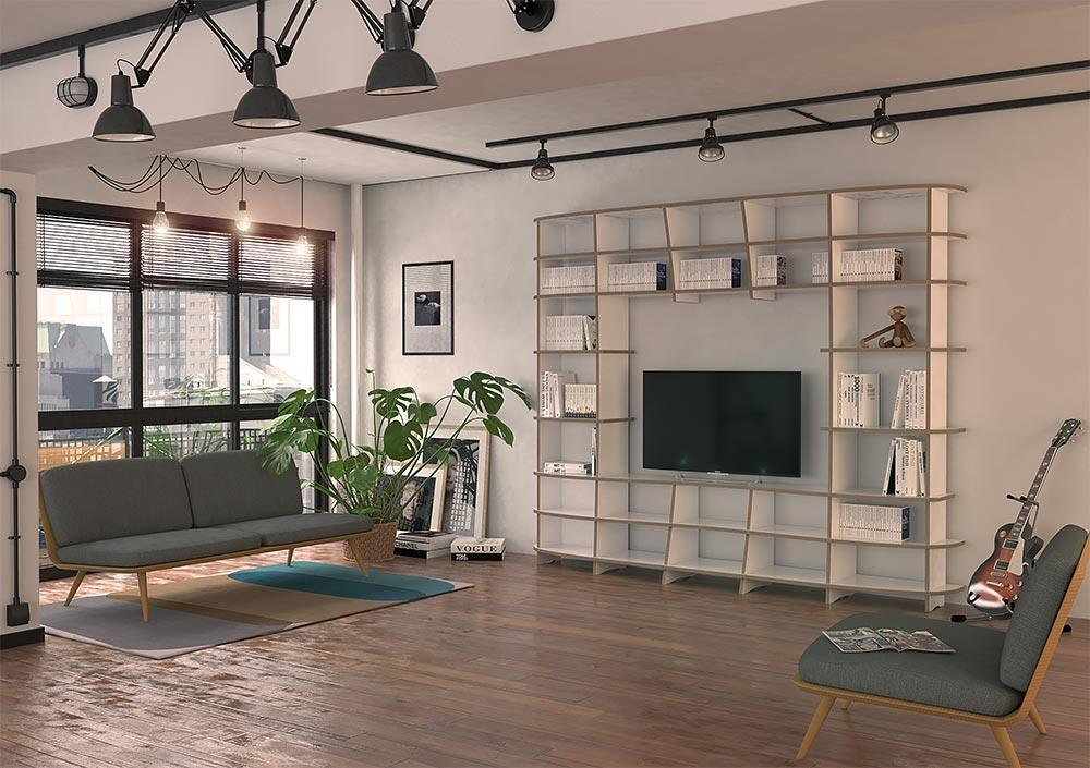 Elisa-bookcases, living room, TV cabinet, TV stand, TV wall, wall shelves-formbar.co.za
